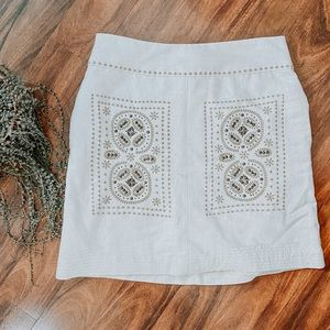 Anthropologie Floreat Beaded Embroidered Skirt